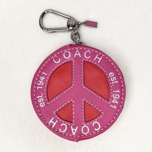 Coach Peace Symbol Coin Purse Red Pink